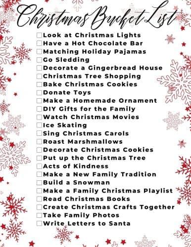 christmas bucket list for 2020