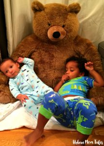 Miles Toddler in Ellis Monthly Baby Photo with Bear