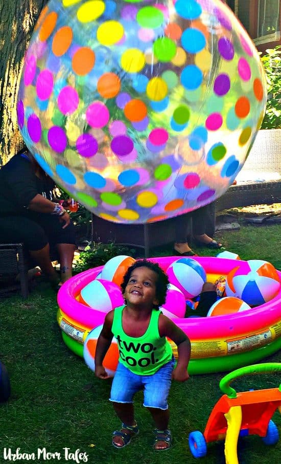 2 year old Ball themed birthday party, jumbo ball, ball pit