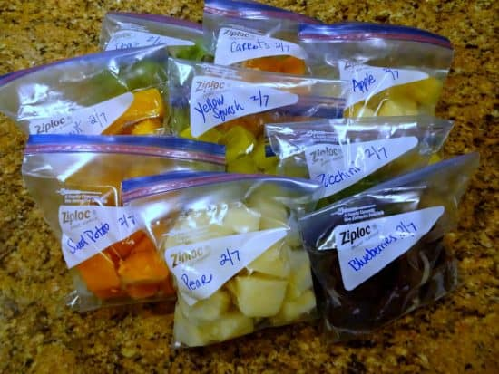 Baby Food Labeled in Ziplock Bags for Freezing