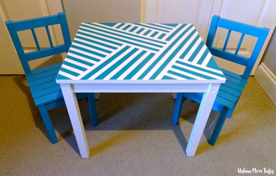 DIY Kid's Craft Play Table Makeover Painter's Tape Design Teal Blue Playroom Toddler Room After Picture