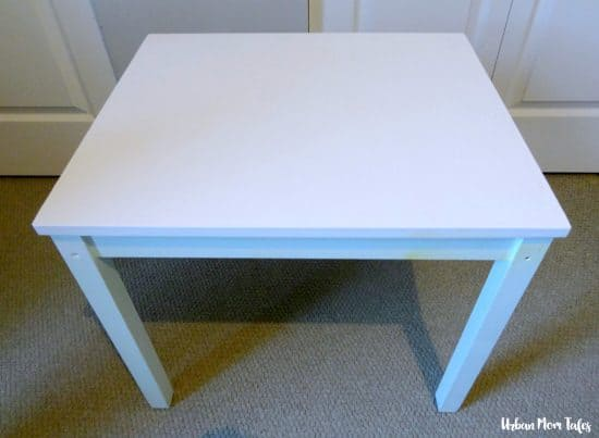 DIY Kid's Craft Play Table Makeover Painter's Tape Design Teal Blue Playroom Toddler Room Before Picture Step 2