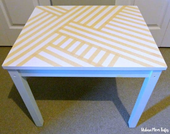 DIY Kid's Craft Play Table Makeover Painter's Tape Design Teal Blue Playroom Toddler Room Before Picture Design