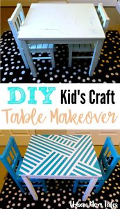 DIY Kid's Craft Play Table Makeover Painter's Tape Design Teal Blue Playroom Toddler Room