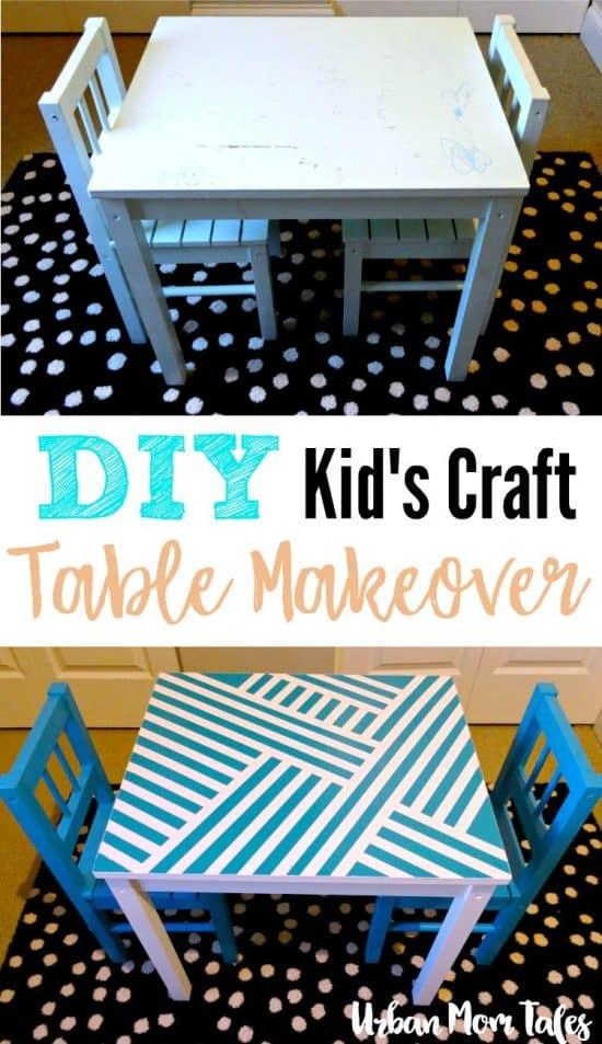 DIY Kidu0027s Craft Play Table Makeover Painteru0027s Tape Design Teal Blue  Playroom Toddler Room