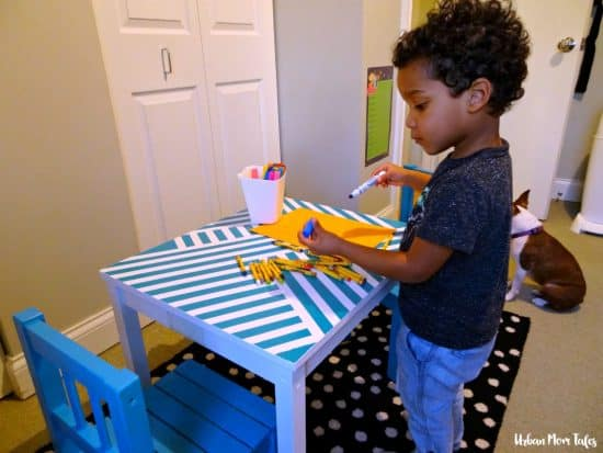DIY Kid's Craft Play Table Makeover Painter's Tape Design Teal Blue Playroom Toddler Room Playing