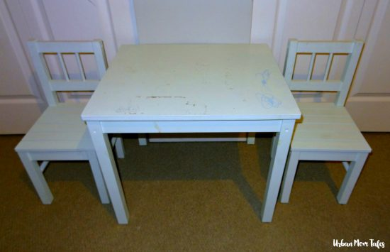 DIY Kid's Craft Play Table Makeover Painter's Tape Design Teal Blue Playroom Toddler Room Before Picture