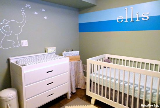 White Nursery Decor Blue and Teal Wall Stripes Baby Name on Wall