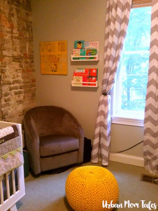 DIY Wall Art, Gray and yellow nursery, glider reading corner, ikea spice rack books, yellow ottoman