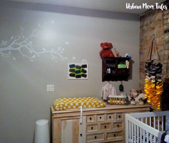 Gray and Yellow Nursery Wall Decal Dresser