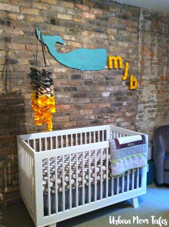Gray and yellow nursery diy mobile whale art diy initials art