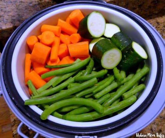 Baby Food Steam Green Beans Zucchini Carrots