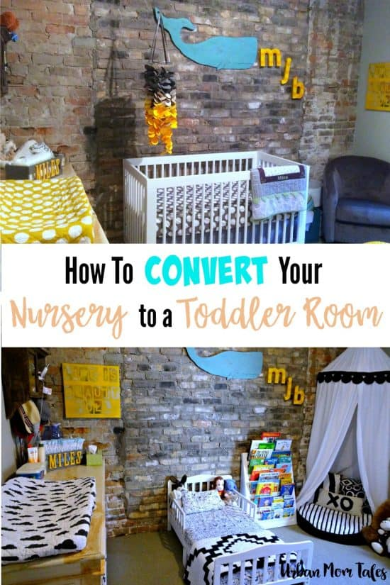 Is your baby growing up? Are your wondering how to make their toddler room? Read on for great tips on how to convert your nursery to a toddler room with a DIY reading corner and play table craft corner.