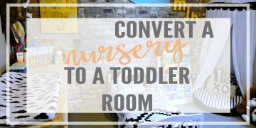 Is your baby growing up? Are you wondering how to design their toddler room? Read on for great tips on how to convert a nursery to a toddler room with a DIY reading corner and play table craft corner.