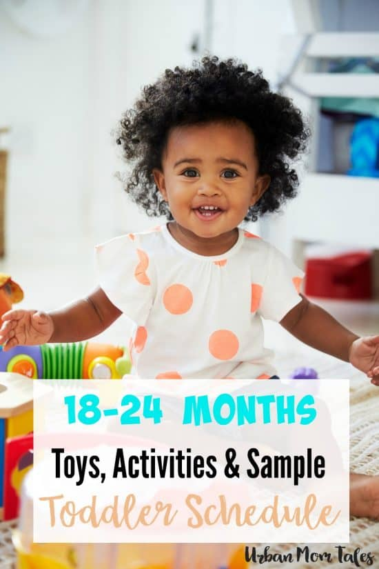 An 18-24 month toddler printable sample schedule with activities, developmental toys and milestones for the happiest toddler on the block!