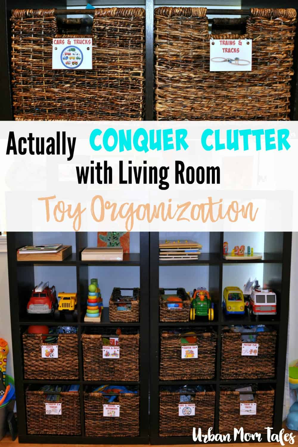 When you don't have a playroom, smart living room toy organization is key! Labels to put toys in categories and create clean up routines for your kids.