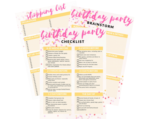 Kids' birthday party planning guide with a birthday checklist a brainstorming page and an organized shopping list. birthday party checklist, birthday party list, party planning ideas