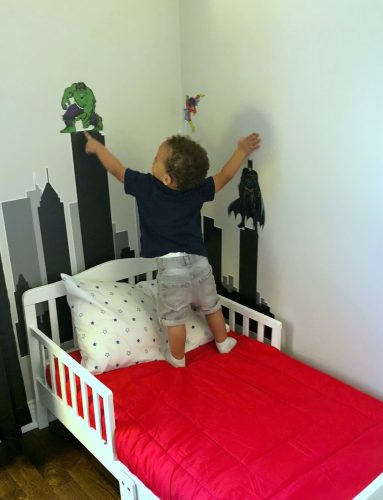 shared toddler boys superhero bedroom makeover