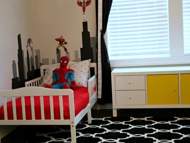 Black and White with pops of color superhero bedroom decor.