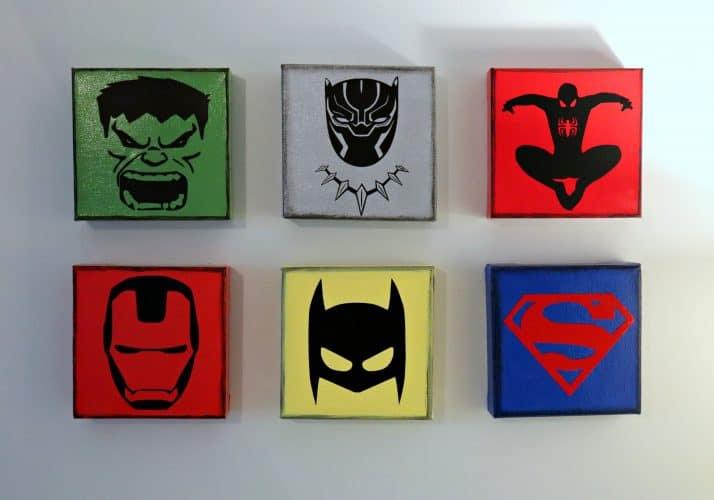 Superhero wall, superhero decoration ideas with logo art squares.