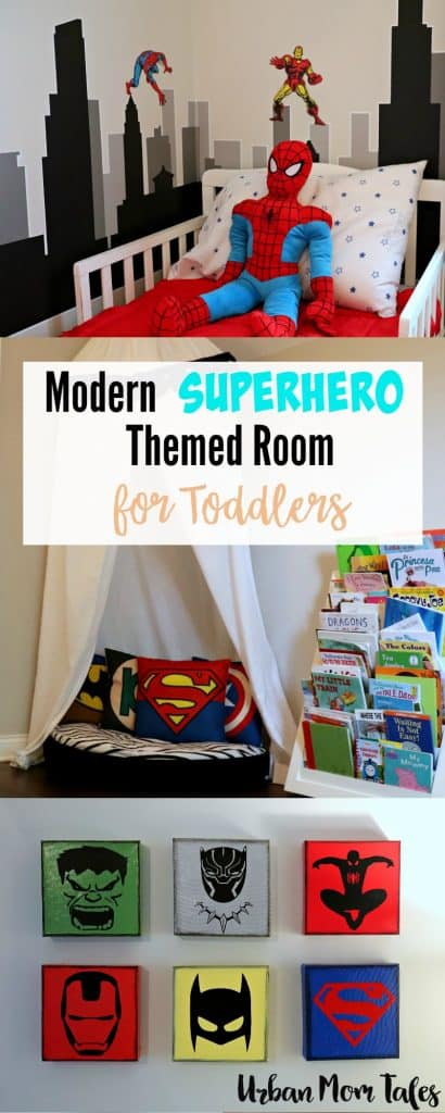 Modern Superhero themed room for a shared toddler boy bedroom with superhero wall art and reading corner. #superheroboysbedroom #superherobedroomideas