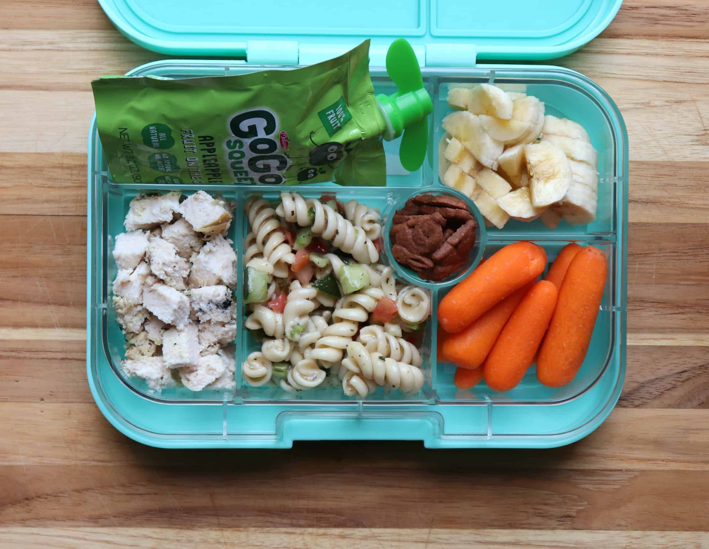 toddler lunch daycare pasta salad, chicken, carrots, banana · urban