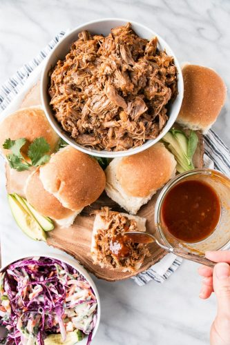 Instant Pot bbq pulled pork is a hit with toddlers and adults alike.