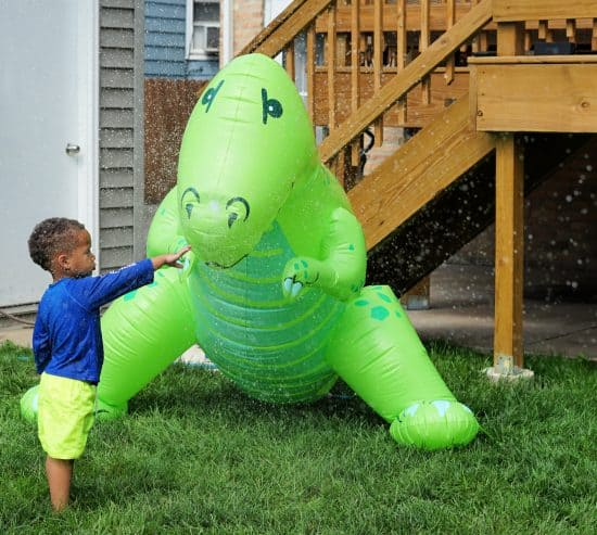 dinosaur super large sprinkler birthday party
