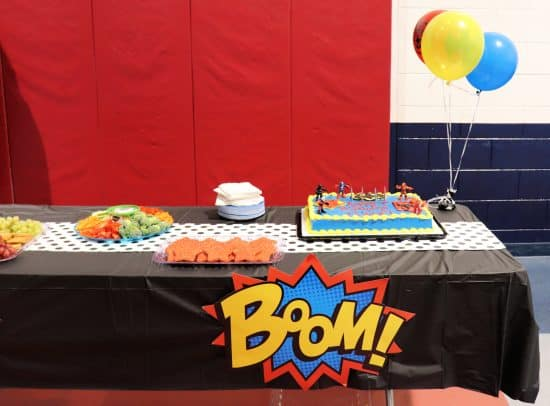 Food table for superhero birthday