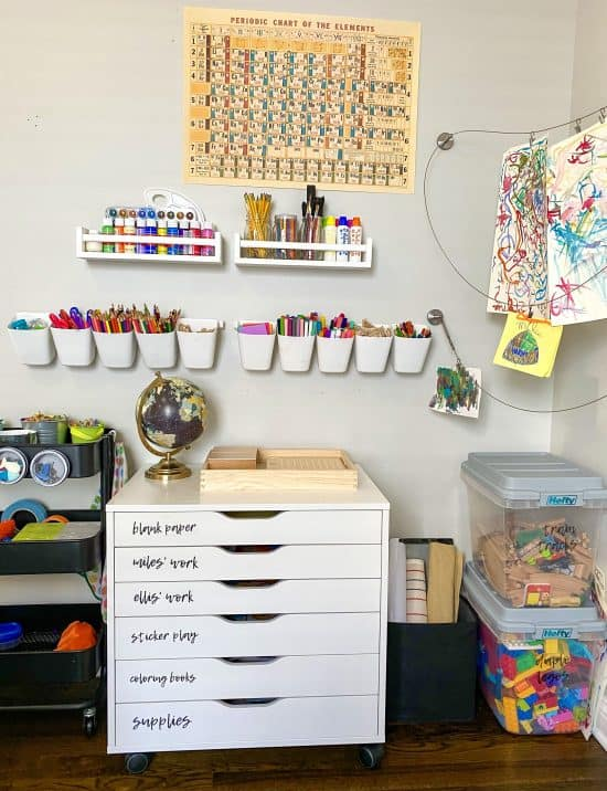 homeschool room supplies organized