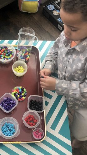 preschool learning activities sorting beads