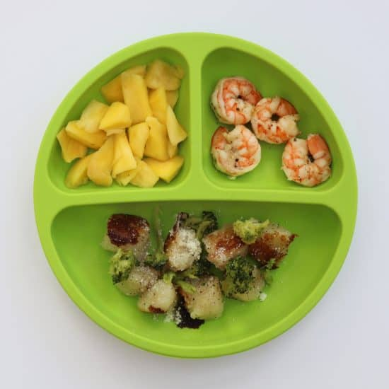 shrimp gnocchi mango meal for toddlers