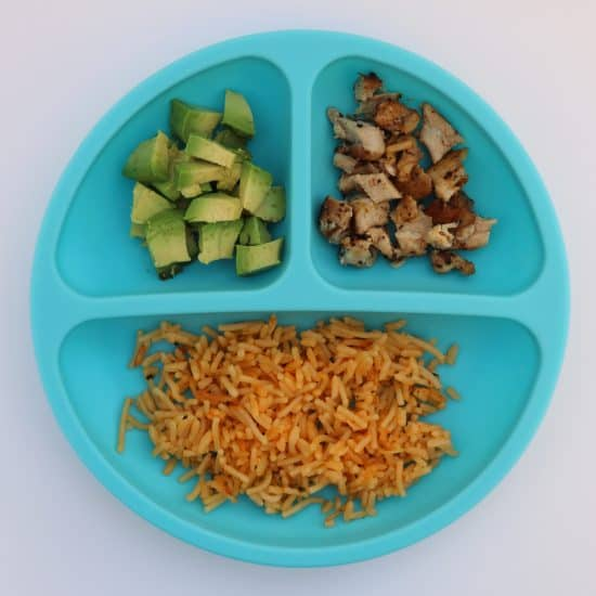 spanish rice and chicken toddler meal idea