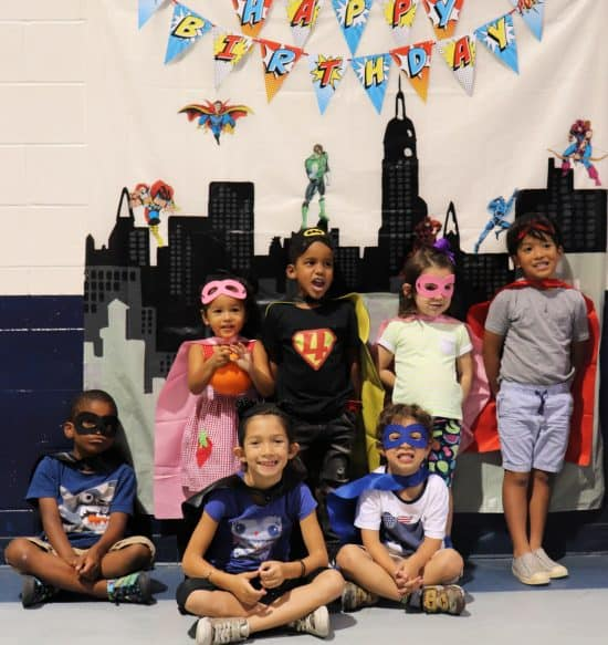 Photo backdrop for a superhero birthday party