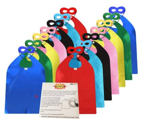 Pack of 14 capes and masks for best superhero party decorations