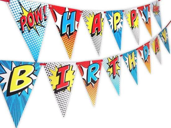 Birthday banner for superhero party
